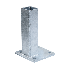 Fußplatte für Pfosten - wandseitig, verzinkt - Maße: 100 x 100 mm