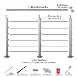 Edelstahlgeländer 40x40 mm Set - Länge: 3 m, aufgesetzte Montage, 6 Querstäbe