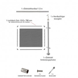 Edelstahlgeländer Erweiterungsset: Lochblech - Länge: 1,39 m, aufgesetzte Montage