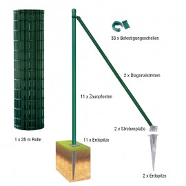 Gartenzaun / Gitterzaun 25 Meter Komplett-Set Foxx - Farbe: grün, Höhe: 122 cm, Ausführung: mit Erdspitzen