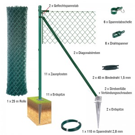 25 Meter Maschendrahtzaun Komplett-Set Dingo - Farbe: grün, Höhe: 100 cm, Ausführung: mit Erdspitzen