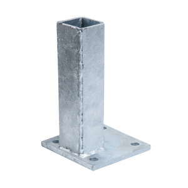 Fußplatte für Pfosten - wandseitig, verzinkt - Maße: 60 x 60 mm